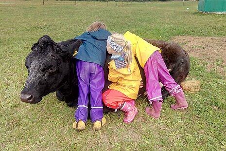 """Die Kuh """"Isabella"""" mit Kindern."""