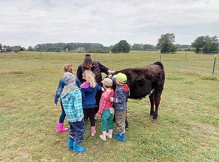 Kinder der KITA Vietlübbe begrüßen Kälbchen Pauli.