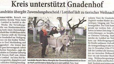 8. Dezember 2019 | Blitz - Grevesmühlen | Kreis unterstützt Gnadenhof