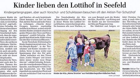 8. September 2019 | Lübecker Nachrichten | Kinder lieben den Lottihof in Seefeld