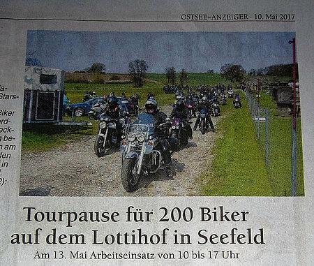 """""""Tourpause für 200 Biker auf dem aktion tier Lottihof"""""""