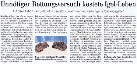 26. September 2019 | Ostseezeitung | Unnötiger Rettungsversuch kostete Igel Leben