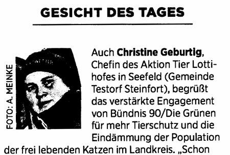 Gesicht des Tages – Christine Geburtig
