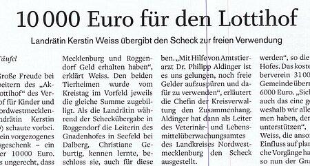 7. Dezember 1019 | Schweriner Volkszeitung | 10.000 Euro für den Lottihof